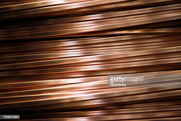 Coiled copper lengths sit at the Cole Swallow Materials Ltd factory in Wokingham UK on Wednesday Oct 26 2011 Copper climbed in London on speculation...