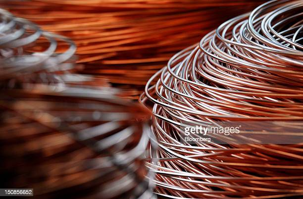 Coiled lengths of 8mm copper wire are seen before shipping in a warehouse at the copper mining and smelting complex operated by RTB Bor Group in Bor...