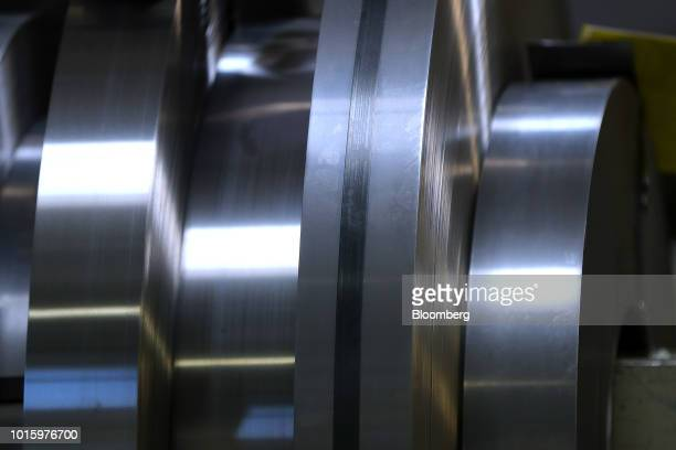 Coils of steel sit in a storage area at the Schaeffler AG automotive component factory in Herzogenaurach Germany on Tuesday July 3 2018 Schaeffler...