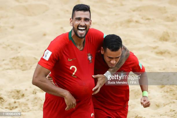 Coimbra and Be Martins of Portugal celebrates a goal during the FIFA Beach Soccer World Cup Paraguay 2019 group D match between Portugal and Nigeria...