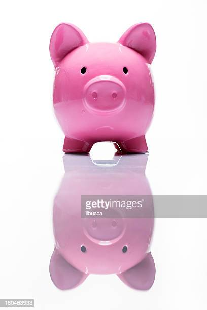 Coin bank pink pig studio shot on white with reflection