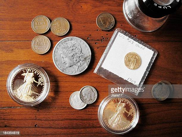 coin collection - rare u.s. coins - antique stock pictures, royalty-free photos & images