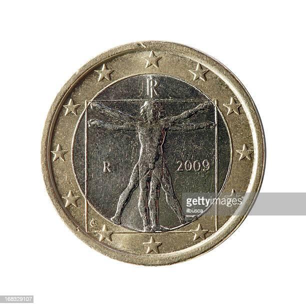 Coin macro isolated on white: 1 Euro