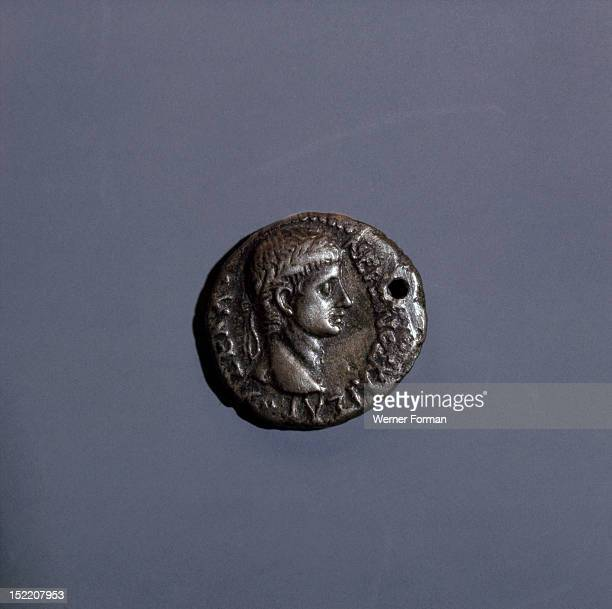 Coin of Nero mint of Ephesus Shows a youthful head of Nero Italy Roman