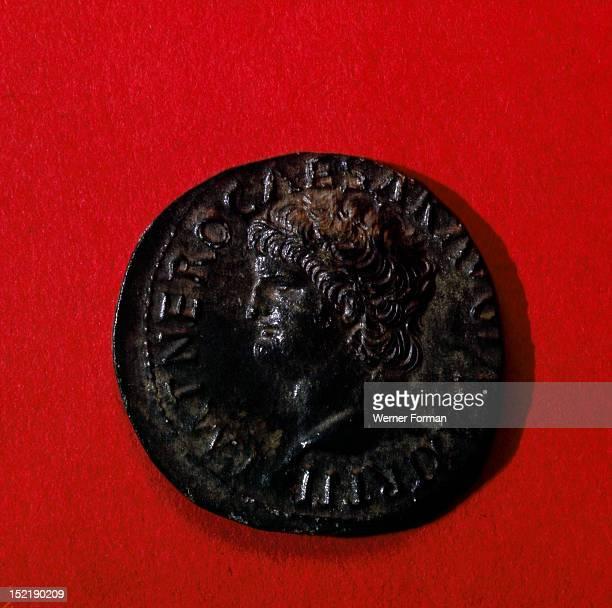 Coin of Nero mint of Lugundum Obverse Nero Italy Ancient Roman AD64 66