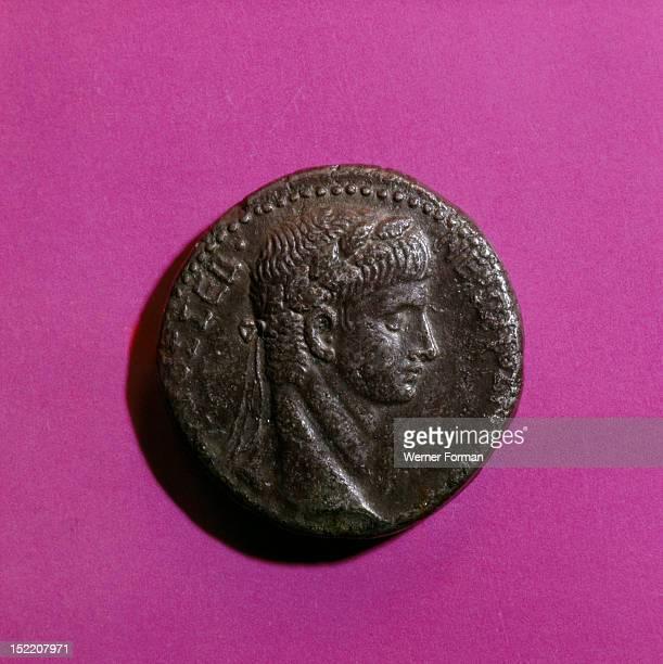 head of Nero Laureate Mint of Antioch Italy Roman AD 56