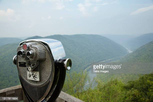 coin operated binoculars on viewing platform, new river gorge national river, fayetteville, west virginia, usa - fayetteville stock pictures, royalty-free photos & images