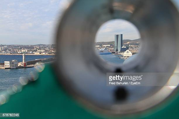 Coin Operated Binoculars Overlooking City