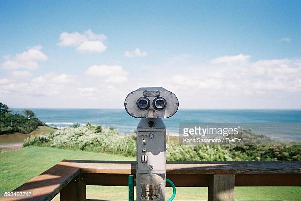 Coin Operated Binoculars With Sea In Background