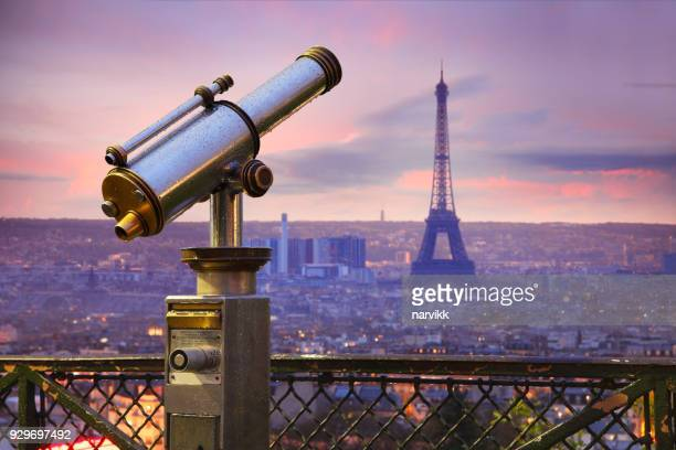 Coin operated telescope with Eiffel tower in Paris