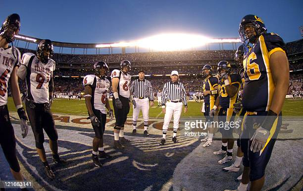 Coin toss at the Pacific Life Holiday Bowl between Texas Tech and Cal at Qualcomm Stadium in San Diego Calif on Thursday Dec 30 2004 Texas Tech team...