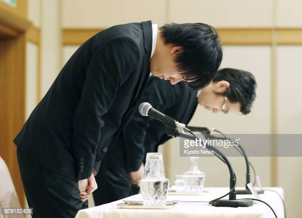 Coincheck Inc CEO Koichiro Wada apologizes at a press conference held in Tokyo on March 8 to explain the company's plan to compensate its customers...