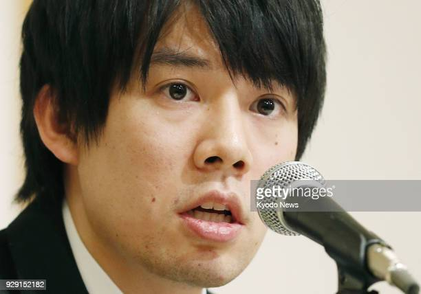 Coincheck Inc CEO Koichiro Wada holds a press conference in Tokyo on March 8 to explain the company's plan to compensate its customers for the loss...