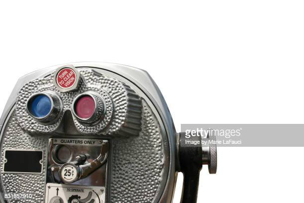 Coin-operated binoculars with white background