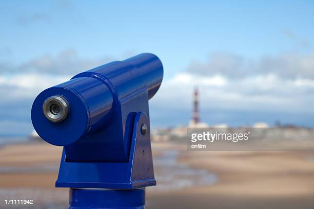 coin-operated telescope at seaside - blackpool beach stock pictures, royalty-free photos & images