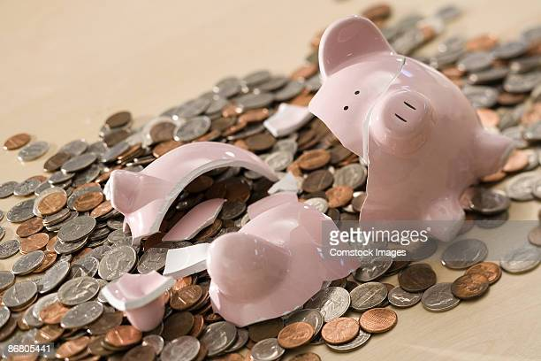 Coins and broken piggy bank