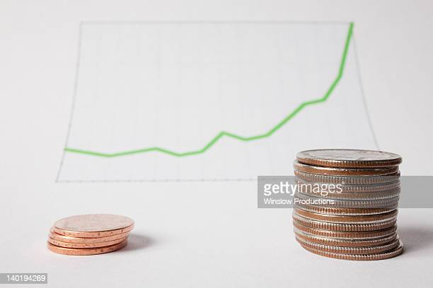 coins and graph, studio shot - us penny stock pictures, royalty-free photos & images