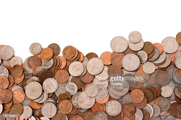 Coins Currency Pile of Wealth and Savings on White Background