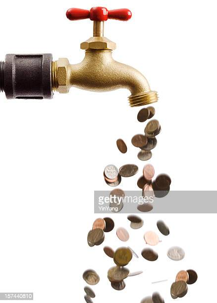 Coins Falling Down the Drain of Currency Cash Flow Faucet