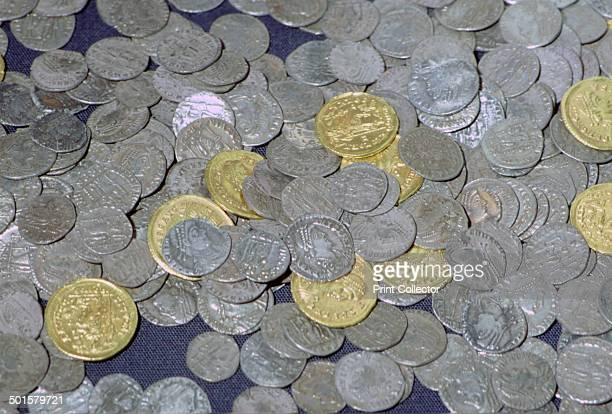 Coins from the Hoxne hoard Roman Britain buried in the 5th century Found in Hoxne Suffolk in 1992 it contained jewellery and a variety of precious...