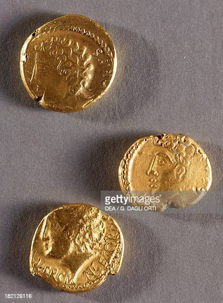 Coins from the time of Vercingetorix with male profiles Roman coins 1st century BC