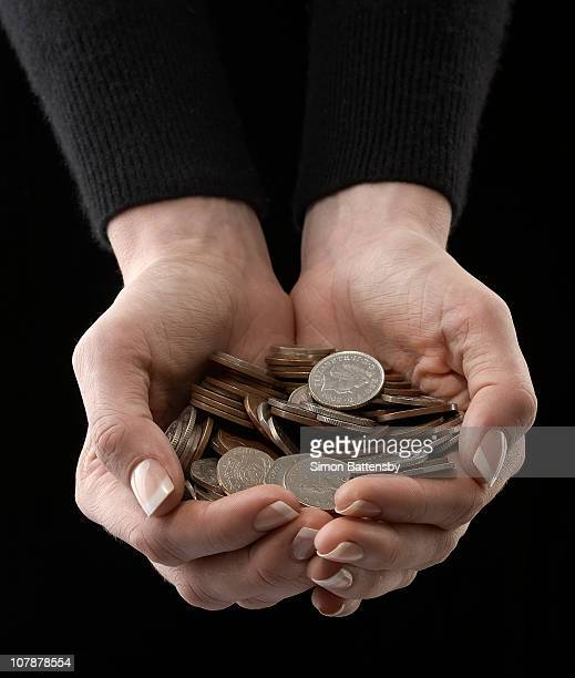 Coins held in cupped female hands
