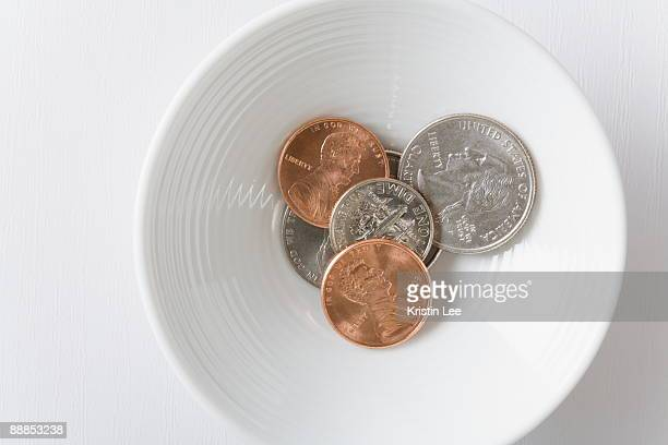 Coins in bowl