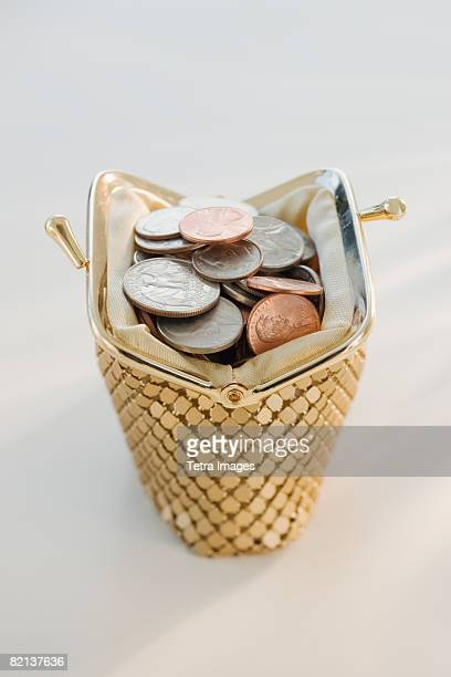 Coins in open change purse