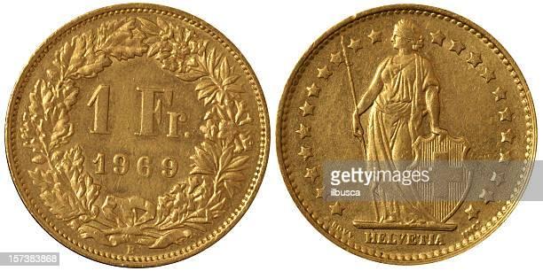 Münzen Makro - 1 Schweizer Franken