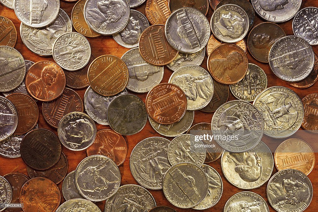 US coins of various denominations : Stockfoto