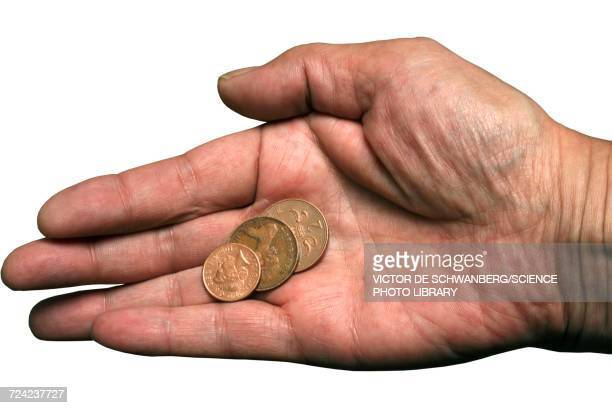 Coins on palm of hand