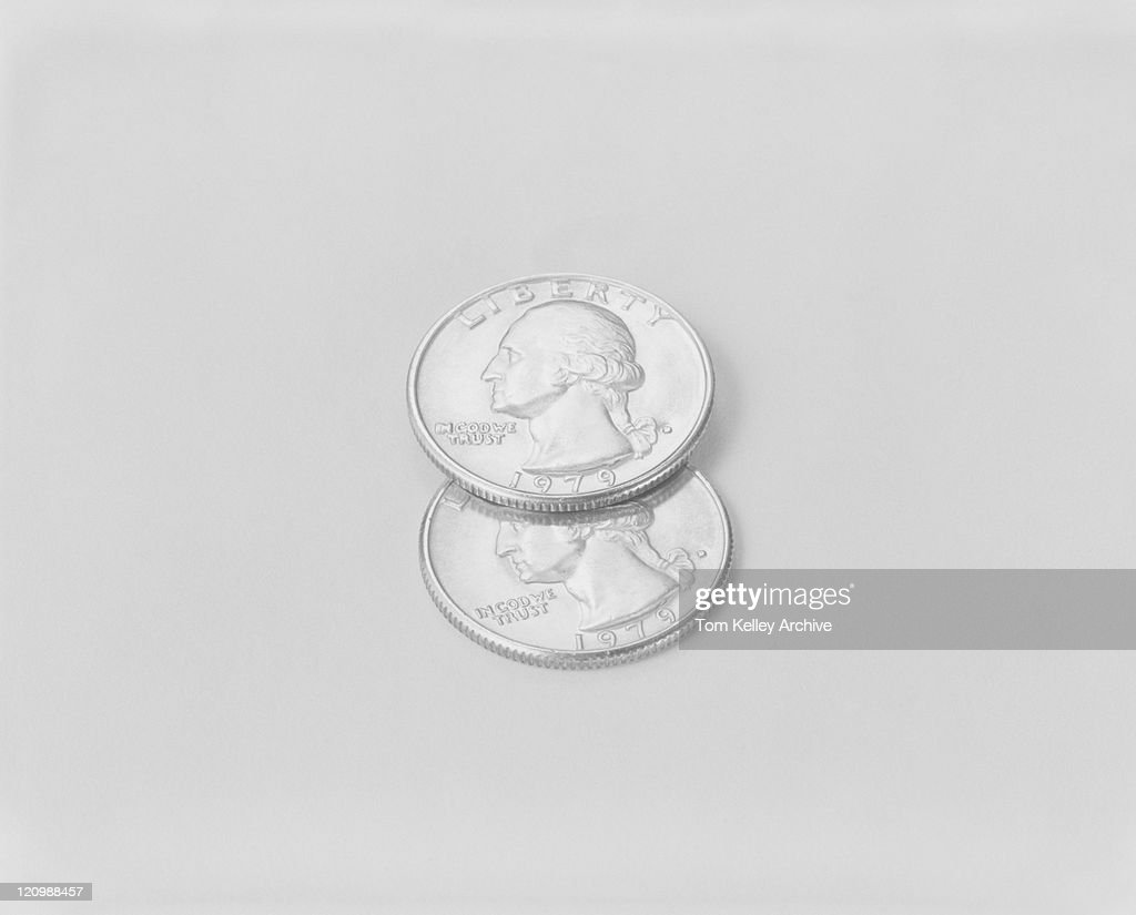 US coins on white background : ストックフォト