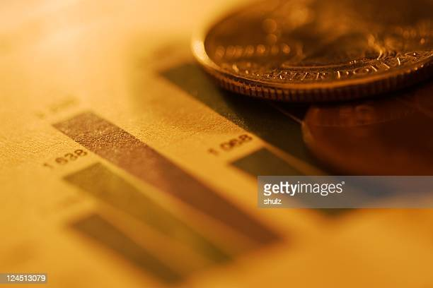 Coins resting on the finance sheet