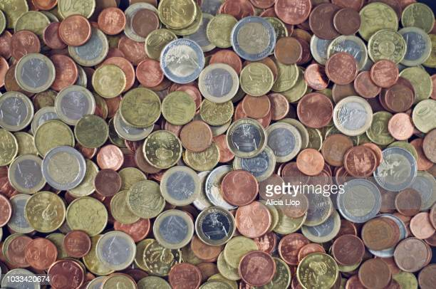 coins top view - euro symbol stock photos and pictures