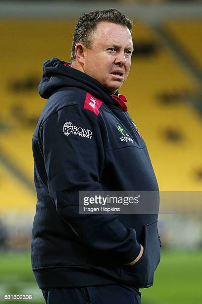 Cointerim head coach Matt O'Connor of the Reds looks on during the round 12 Super Rugby match between the Hurricanes and the Reds at Westpac Stadium...