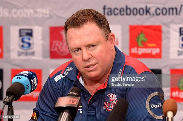 Cointerim Head Coach Matt O'Connor speaks after the round four Super Rugby match between the Reds and the Blues at Suncorp Stadium on March 19 2016...