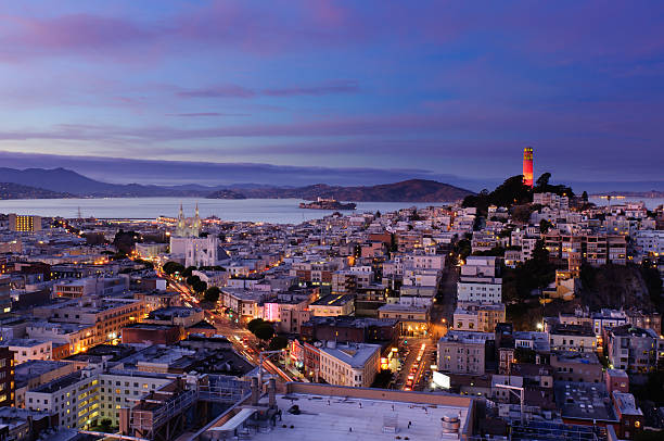 Coit tower and North beach at dusk