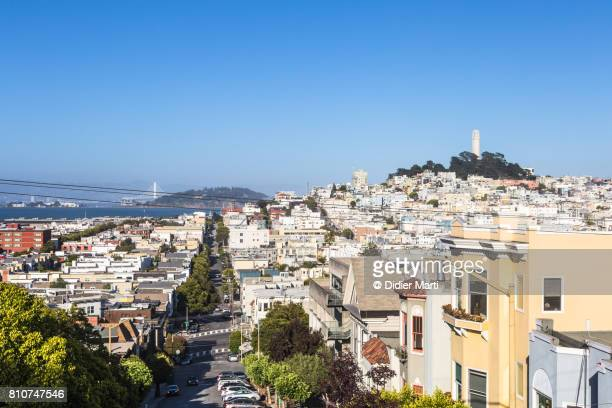 coit tower and telegraph hill in san francisco - treasure island san francisco stock pictures, royalty-free photos & images