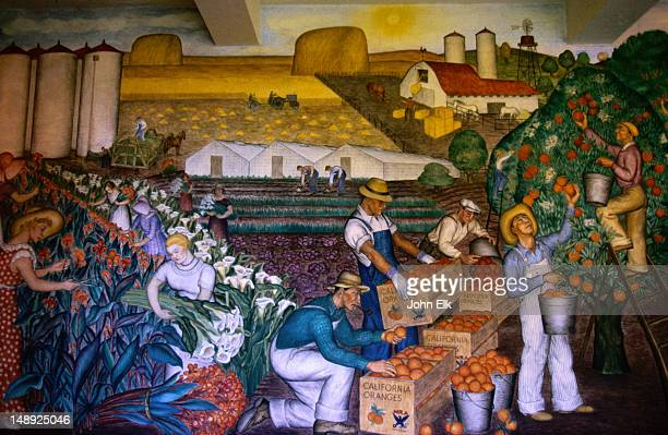 Coit Tower has a number of murals or frescoes painted by 25 local artists that reflect the era conveying the strong socially conscious message that was felt by many  in the early 30's - San Francisco, California