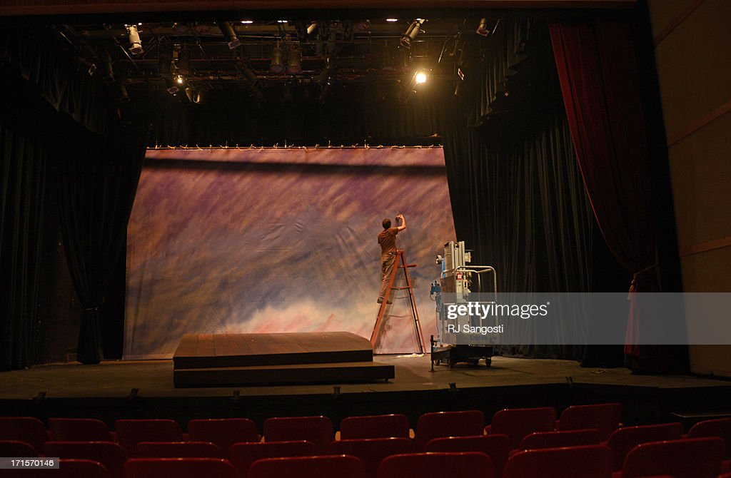 Mark Guirguis works on the stage at the Creede Repertory Theatre, June 26, 2013. Shows will go on at the theatre even though there is wildfire burn near the town.