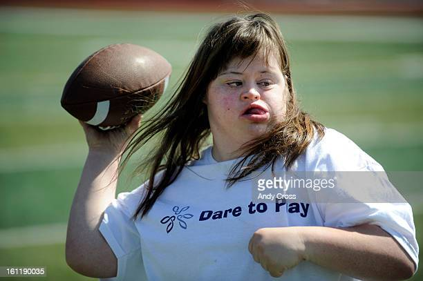 RANCH COKatherine Moore 19yearsold with Down Syndrome during football drills at Valor Christian High School stadium in Highlands Ranch Friday morning...