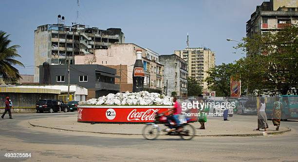 A Coke bottle stands on a roundabout on September 29 2015 in Beira Mozambik