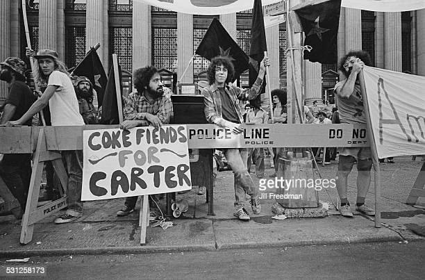 'Coke Fiends For Carter' at a political rally in support of presidential candidate Jimmy Carter New York City USA 1976