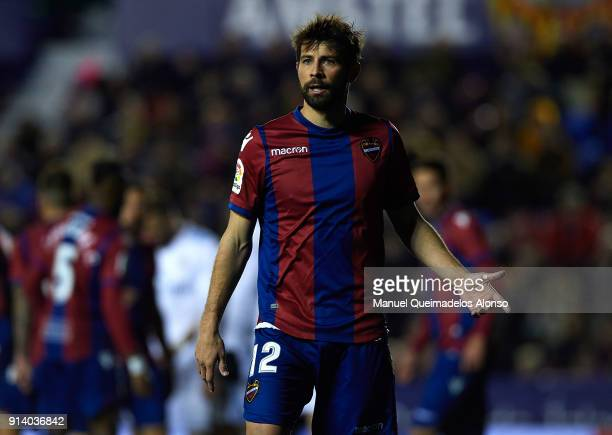 Coke of Levante reacts during the La Liga match between Levante and Real Madrid at Ciutat de Valencia on February 3 2018 in Valencia Spain
