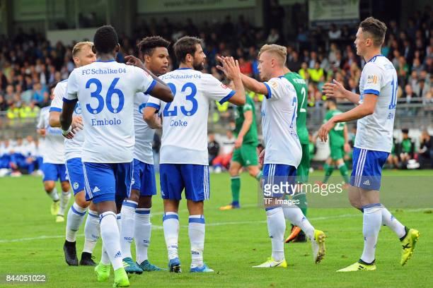 Coke of Schalke celebrate a goal during the preseason friendly match between FC Gütersloh and FC Schalke 04 on August 31 2017 in Gütersloh Germany