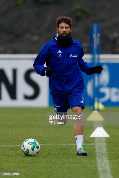 Coke of Schalke controls the ball during a training session at the FC Schalke 04 Training center on December 05 2017 in Gelsenkirchen Germany