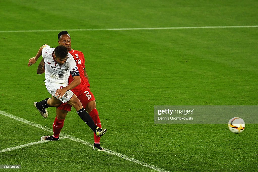 Coke of Sevilla scores his team's second goal during the UEFA Europa League Final match between Liverpool and Sevilla at St. Jakob-Park on May 18, 2016 in Basel, Switzerland.