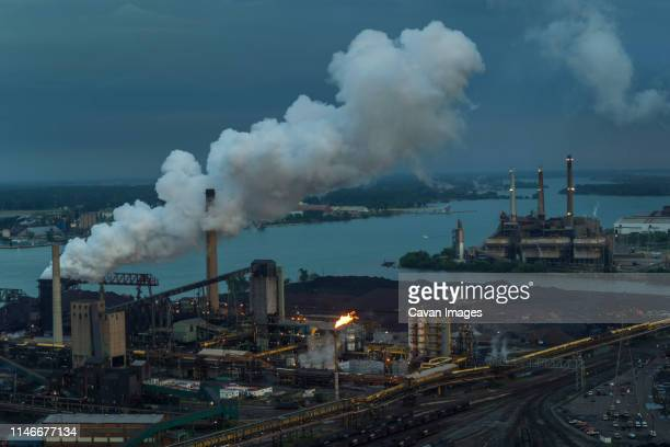 coke release, steel mill, zug island, rouge and detroit river - environmental protection agency stock pictures, royalty-free photos & images