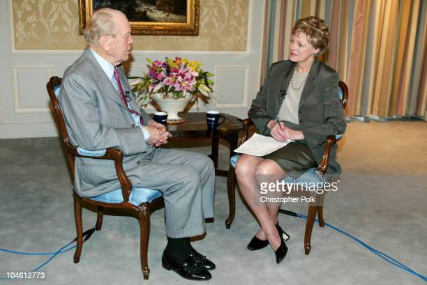 Cokie Roberts of NPR and ABC interviews former President Gerald Ford in Rancho Mirage CA on Jan 23 2003 for a fourpart national television and radio...