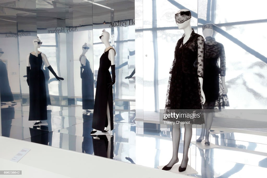 Coktail ensemble constituted by a dress and a vest in Chantilly (Leavers), worn by Audrey Hepburn in the film How to steal a million by William Wyler is displayed during the exhibition 'Hubert de Givenchy' at 'Cite de la Dentelle et de la Mode' on June 15, 2017 in Calais, France. This exhibition takes part from June 15 to December 31, 2017.